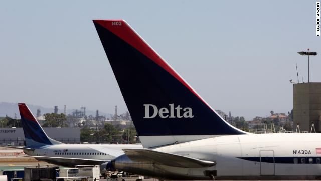 A Delta Air Lines flight slid off a taxiway Sunday in Detroit.