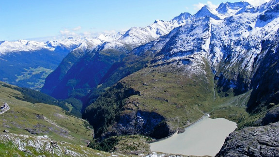 """Nadine Hamad snapped this shot of """"the view of the reservoir from the Franz-Josephs Hohe, the prime viewpoint for the majestic Grossglockner Mountain"""" in Austria."""