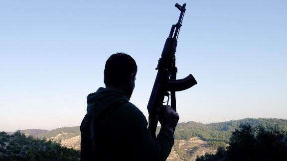 A member of the Free Syrian Army (FSA) in the village of Ain al-Baida, Idlib province, on December 15, 2011.