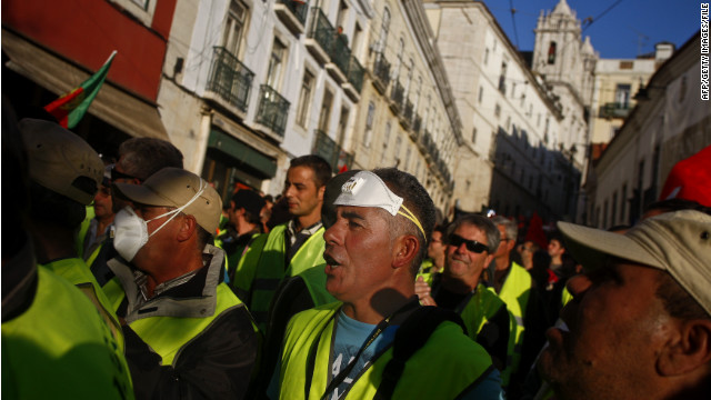 Workers protest austerity measures during a 24-hour general strike last month in Lisbon, Portugal