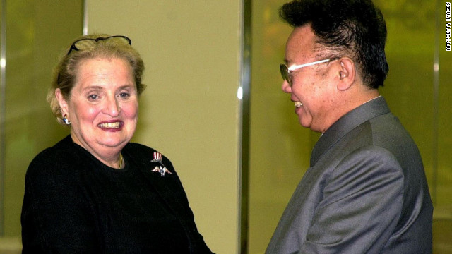 US Secretary of State Madeleine Albright (L) shakes hands with North Korean leader Kim Jong Il before a dinner in Pyongyang on 24 October 2000.