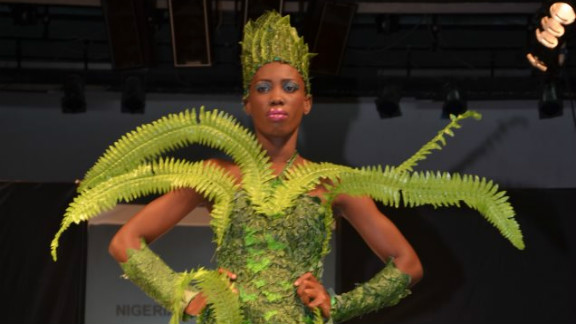 """Modela Couture designer Bayo Adegbe said: """"This looks like the forest ... I have these kind of ideas that are unusual but I love them, I believe in them."""""""