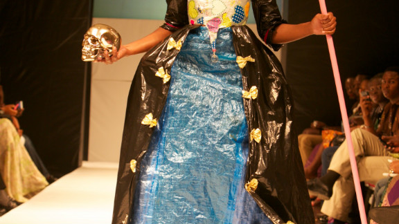 """This design by Monu and Monu used plastic bags and bin bags. """"We have a natural way of recycling in Africa but what we don"""