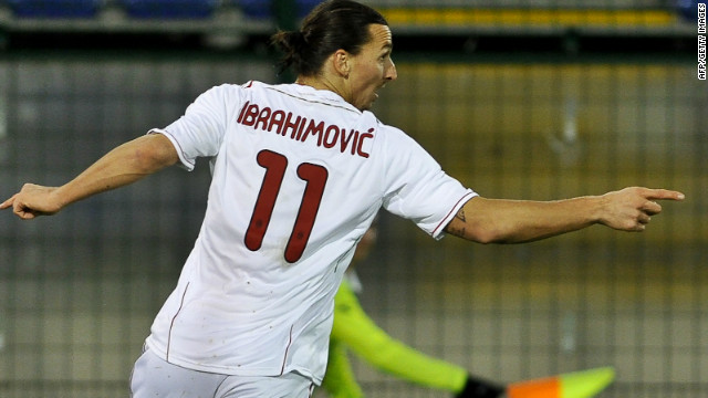 AC Milan striker Zlatan Ibrahimovic celebrates after scoring his 11th league goal this season in the win over Cagliari.