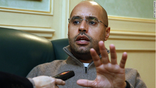 Saif al-Islam Kadhafi, son of Libyan leader Moamer Kadhafi, speaks during an interview with AFP in Tripoli on February 26, 2011