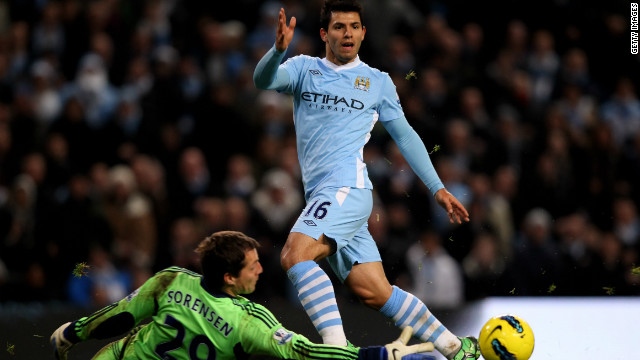 Sergio Aguero scored twice in leaders Manchester City's 3-0 win at home to Stoke on Wednesday.