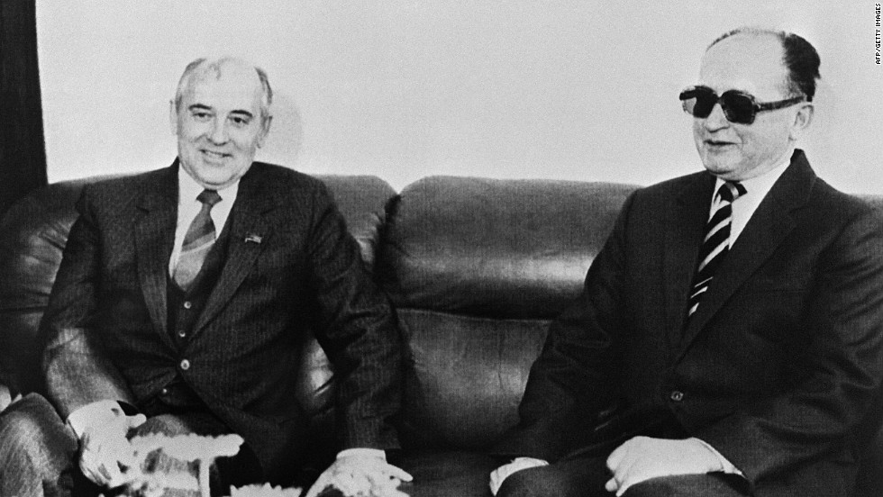 March 1985: Mikhail Gorbachev, pictured here a month later with Poland's General Wojciech Jaruzelski, becomes Soviet leader, ushering in a new era of reform and openness.