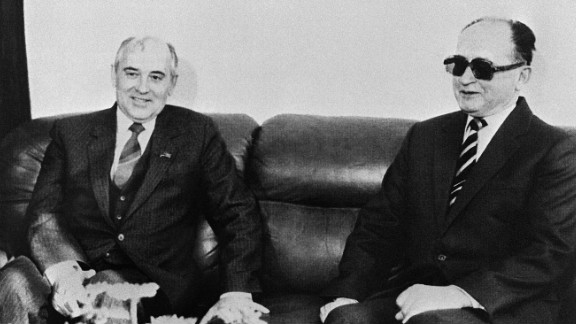 March 1985: Mikhail Gorbachev, pictured here a month later with Poland
