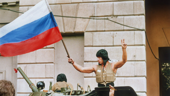 August 1991: The coup collapses under public pressure and army insurrection. The Russian flag is flown over the Kremlin and Gorbachev quits his Communist Party role.
