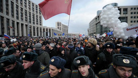 Russian police academy cadets manage the crowd at Saturday's Moscow protest.