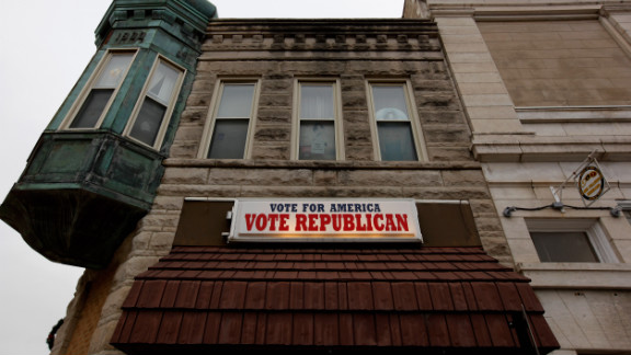 A sign on the Poweshiek County Republican headquarters in Grinnell, Iowa, urges voters to support the GOP.