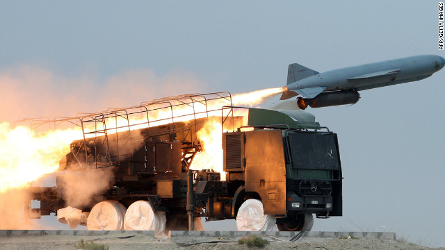 An Iranian missile is launched during war games on April 25, 2010, in southern Iran, near the Strait of Hormuz.
