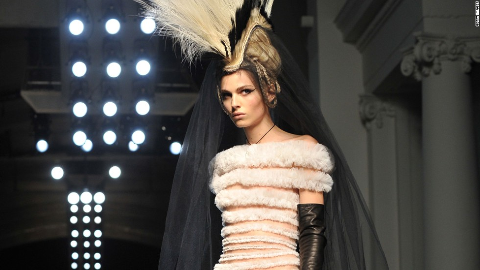 Pejic presents a creation by Gaultier during the Spring-Summer 2011 Haute Couture Collection Show in Paris.