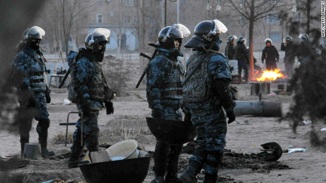 Riot police patrol in the town of Zhanaozen in Kazakhstan on December 18, 2011.