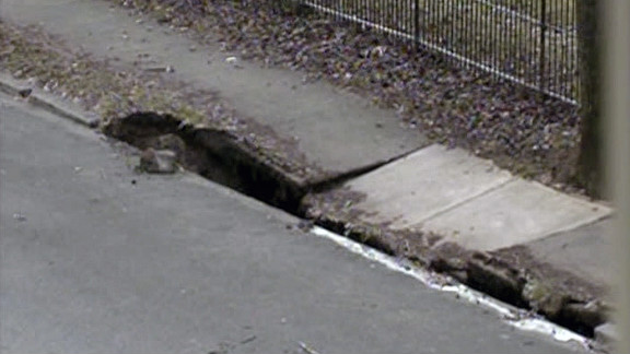 A sinkhole formed Thursday in Allentown, Pennsylvania. A water main break is suspected to have caused it.
