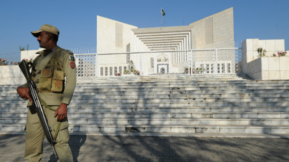 A Pakistani soldier stands guard outside the Supreme Court building in Islamabad on Friday.