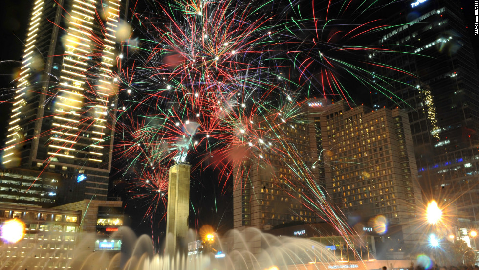 In Indonesia, there were more traditional celebrations, as fireworks filled the sky above the capital, Jakarta.