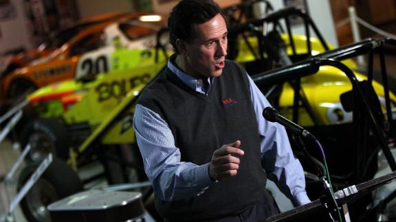Republican presidential candidate Rick Santorum speaks in Knoxville, Iowa, on Saturday.