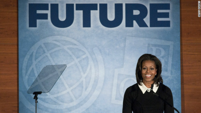 Michelle Obama speaks during the Building a Healthier Future summit on November 30, 2011, in Washington.
