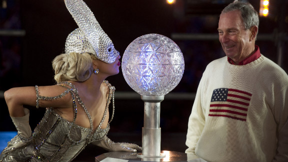 Lady Gaga joins New York City Mayor Michael Bloomberg for the New Year's Eve celebration in Times Square.