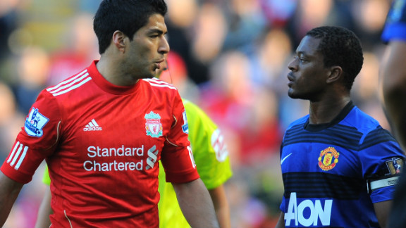 Liverpool striker Luis Suarez was handed an eight-match ban by the English Football Association for racially abusing Manchester United