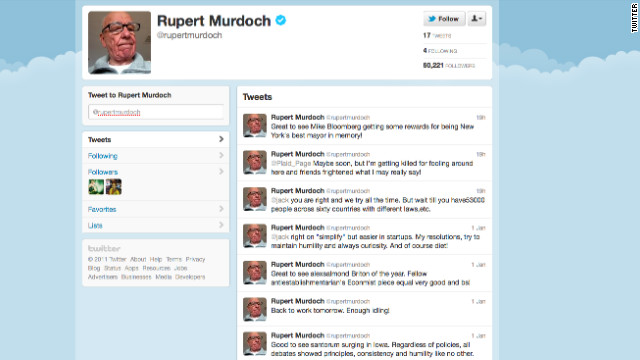 Media Mogul Rupert Murdoch Has Followed Four Users Since Joining Twitter This Weekend And