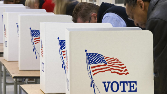 Voters cast their ballots on Tuesday,  November 4, 2008, at Centreville High School in Clifton, Virginia.
