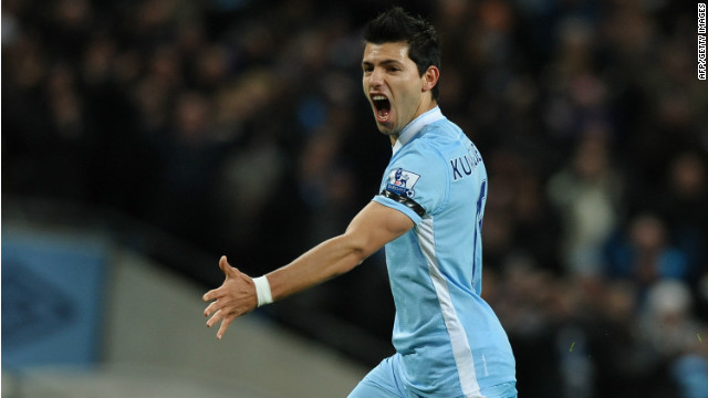 Sergio Aguero celebrates his opening goal for Manchester City against Liverpool at the Etihad Stadium.