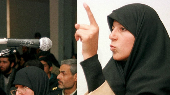 Faezeh Hashemi, daughter of former Iranian President Akbar Hashemi Rafsanjani, speaking in Tehran  December 1998