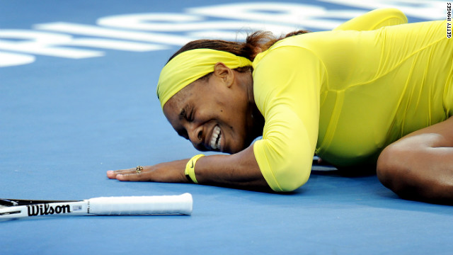 American tennis star Serena Williams collapses in pain during her third-round match on Wednesday.