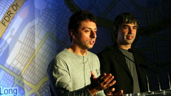 "Google's Sergey Brin, left, says SOPA would put the U.S. ""on par with most oppressive nations in the world."""