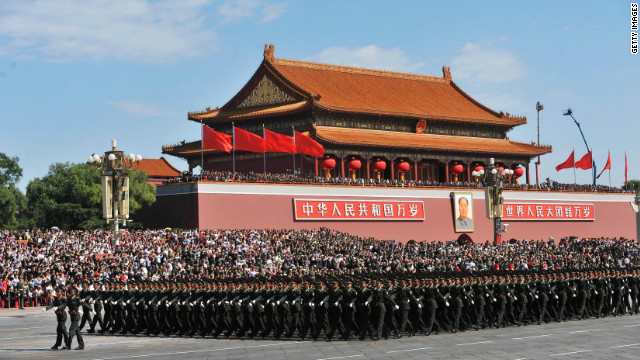 Chinese People's Liberation Army soldiers march past Tiananmen Square during a National Day parade in Beijing in 2009.