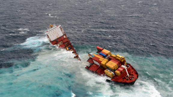 The MV Rena is split into two pieces on Sunday, January 8, after overnight bad weather pounded the vessel.  It ran aground in October on the Astrolabe Reef in Tauranga, New Zealand.