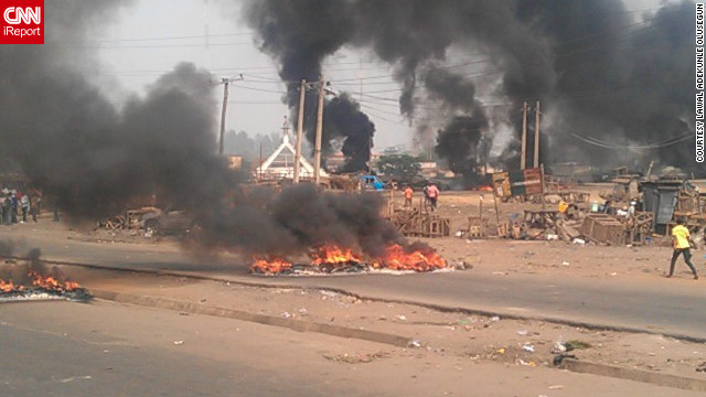 Bonfires set ablaze by protesters outside Lagos State University.