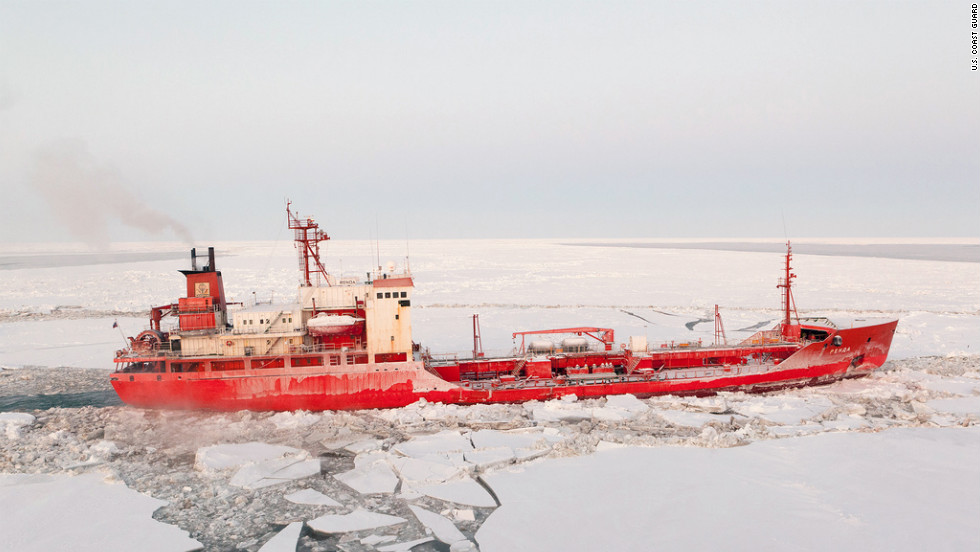 The ships will have to break through about 300 miles of ice to make the complete journey, the Coast Guard said.