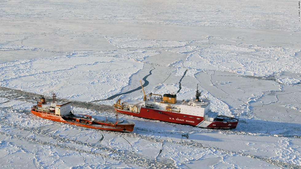 The Coast Guard cutter Healy breaks ice around the Russian-flagged tanker Renda 250 miles south of Nome, Alaska, on Friday, January 6.