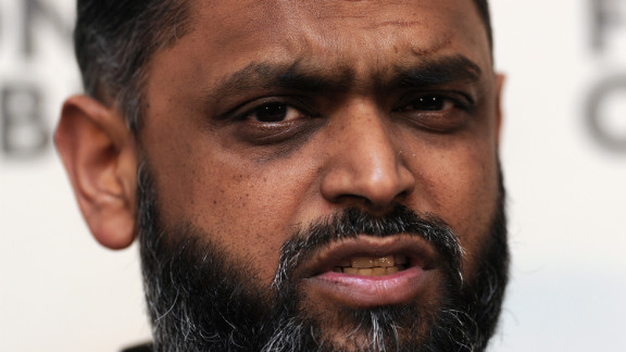 Former Guantanamo Bay detainee British citizen Moazzam Begg, pictured here at a 2012 press conference, is accused of providing instruction and training for terrorism and funding terrorism overseas.