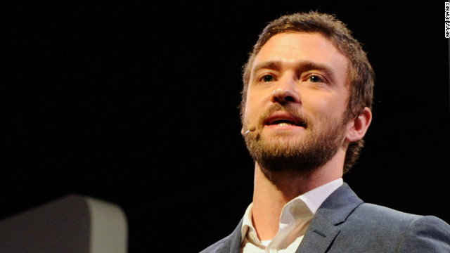 Justin Timberlake appears during a Panasonic press event to announce Myspace TV.
