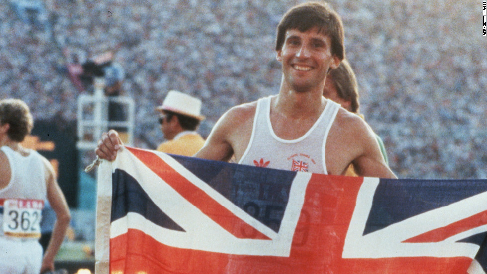 Sebastian Coe holds up the Union Flag after winning the Olympic 1500m gold medal in the 1984 Los Angeles Olympics. The two-time gold medallist later became a Conservative lawmaker in Britain and is now in charge of organizing the 2012 London Olympic Games.