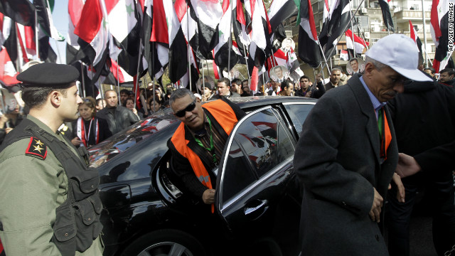 An Arab League observer arrives at a Greek Orthodox church in Damascus on January 9, 2012.