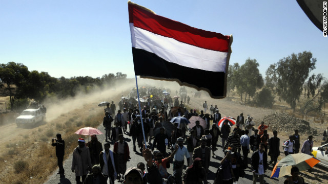 Demonstrators march in Dhamar during the Life March rally on December 23 2011.