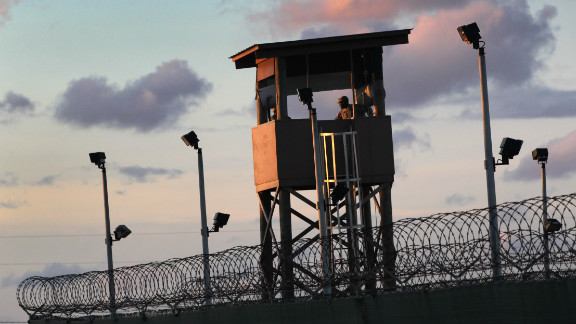 A U.S. military guard tower stands on the perimeter of the prison camp at Guantanamo Bay, Cuba.