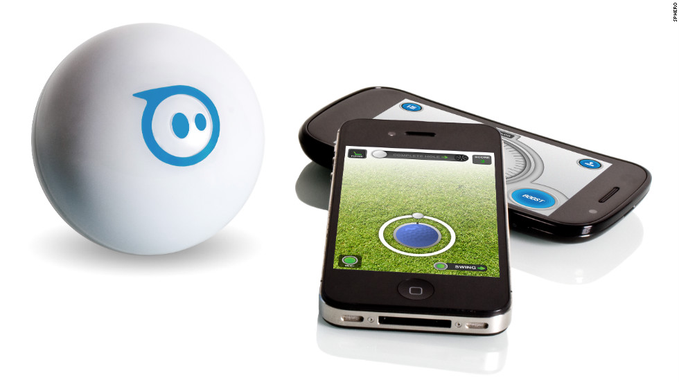 "This <a href=""http://www.gosphero.com/"" target=""_blank"">rechargeable robotic toy</a>, about the size of a softball, acts as if it has a mind of its own. But really it's controlled via Bluetooth by your Apple or Android device. You can make the ball roll around the house, change colors, play games and spook the family pet. Available: this month. Price: $129."