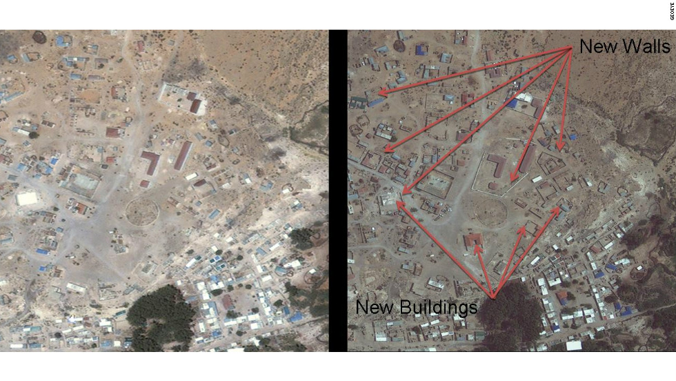 Satellite imagery showing the main town in Eyl. The picture on the left is from September 2005 and the picture on the right-hand side was taken in July 2009.