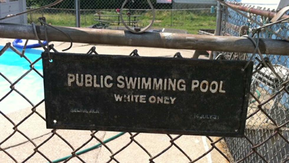 Image result for white only pool sign ohio