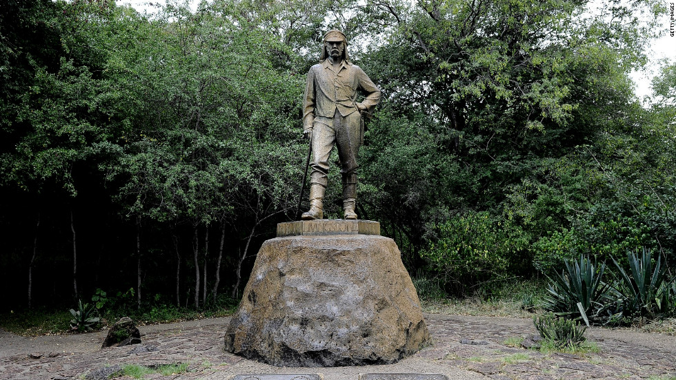 A memorial to explorer David Livingstone, on the Zimbabwean side of the falls.