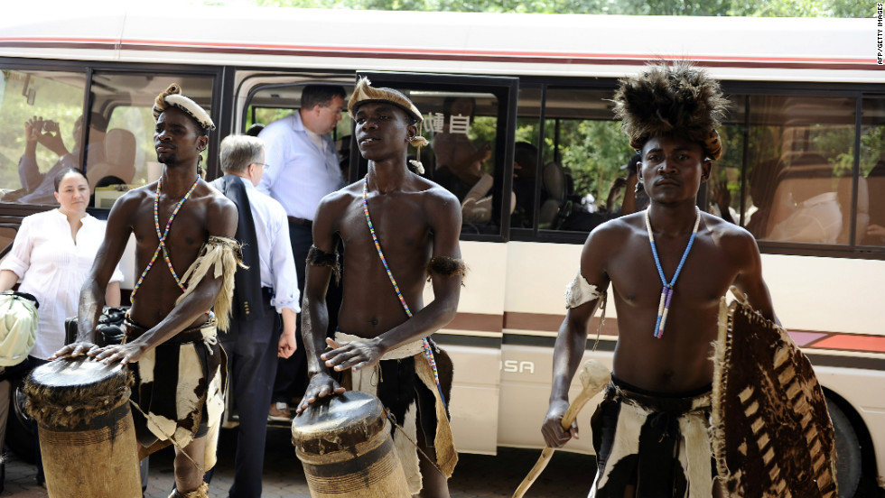 Traditional dancers perform for tourists in Livingstone.