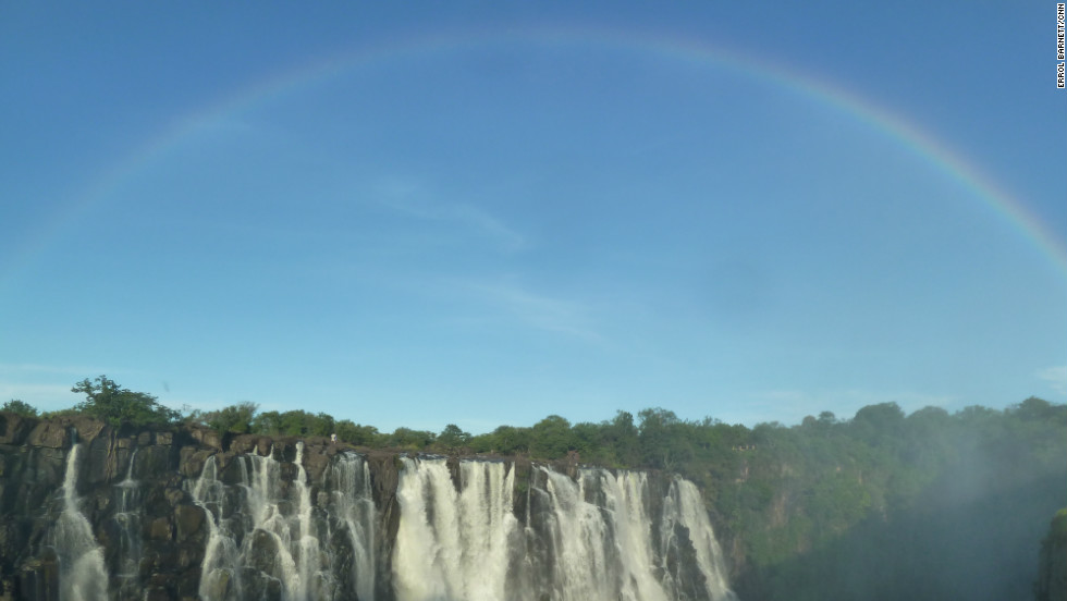 Rainbows and double rainbows are a common sight over Victoria Falls.