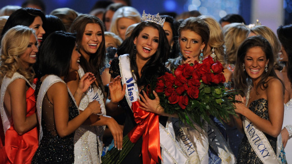 Laura Kaeppeler, Miss Wisconsin, is surrounded by fellow contestants after being crowned Miss America on Saturday.