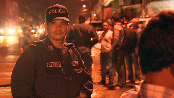 Police patrol the streets of Tegucigalpa, the capital of Honduras, a country  with the world